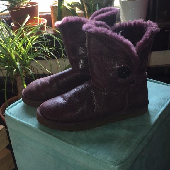 babf4253886 Dark purple crackle leather Bailey Button Ugg boot